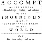 Philosophical Transactions, Volume I, 1665, title page