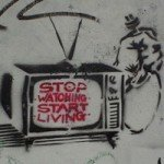 """Stop Watching Start Living"" graffiti in Glasgow, Scotland"