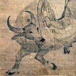 Hanging scroll depicting Laozi riding an ox by Zhang Lu (China: c. 1550)