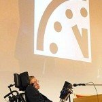 Stephen Hawking presenting an image of the Doomsday Clock