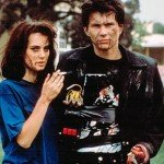 "Winona Ryder and Christian Slater as Veronica Sawyer and Jason Dean in the film ""Heathers"" (1989)"