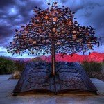 """The Tree of Knowledge"" sculpture in bronze at the Oro Valley Public Library (Oro Valley, Arizona)"