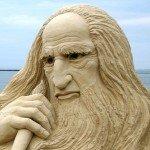 Leonardo da Vinci sand sculpture (Revere Beach, Revere, Massachusetts: 2007)
