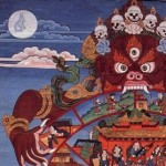 The Bhavacakra (Wheel of Becoming, Wheel of Life) as represented in a thangka