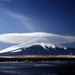 A lenticular cloud formation above Mount Fuji in Japan.
